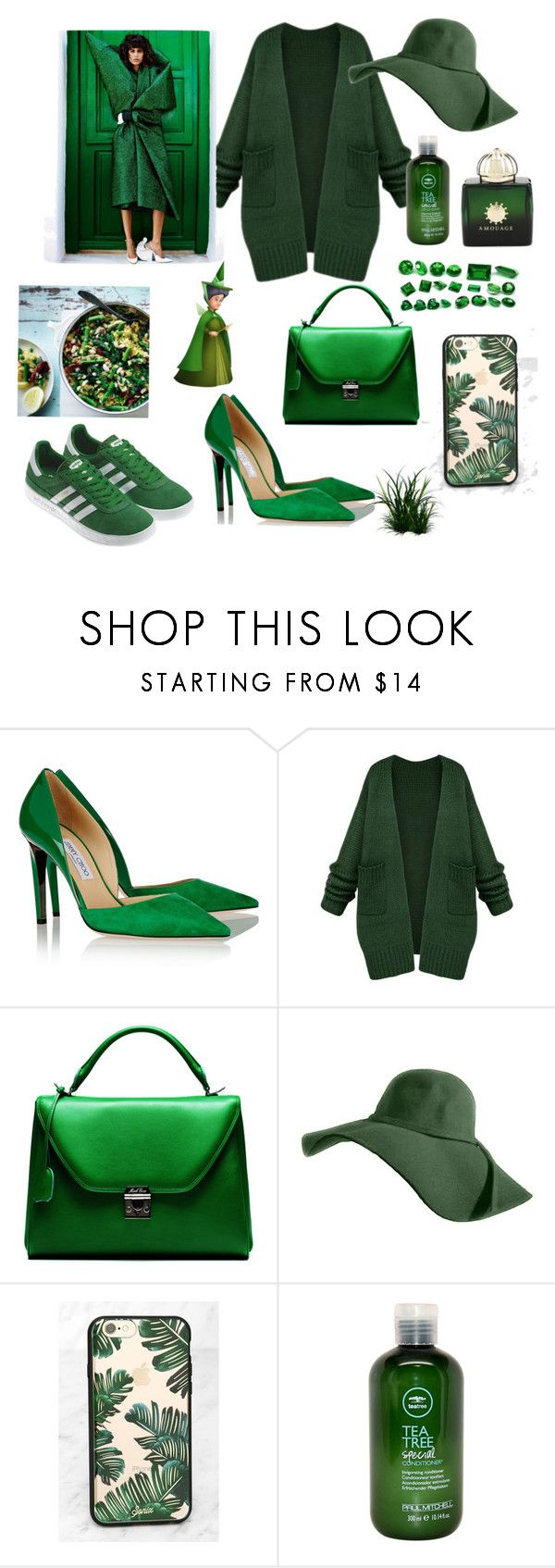 """green trend"" by kimvictoria on Polyvore featuring Jimmy Choo, Mark Cross, Sonix, adidas Originals, Paul Mitchell and AMOUAGE"
