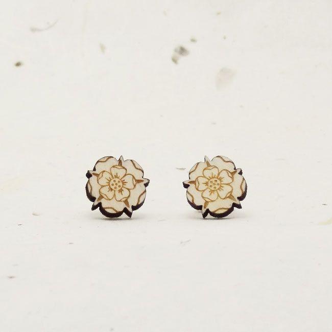 Tudor Rose Eco-Friendly Birch Stud Earring by LittleGoldFoxDesigns on Etsy
