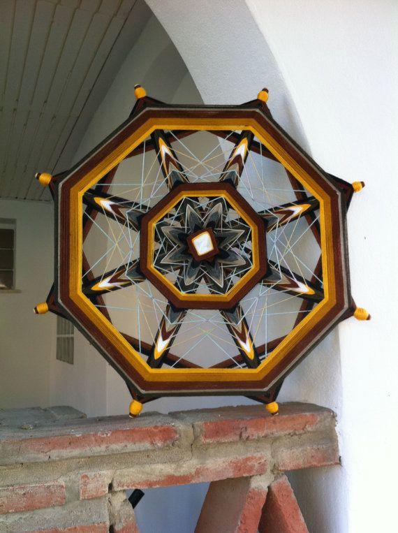 To order Art Mandala - Helm of Luck, yarn mandala, Ojos de Dios, mandala wall hanging