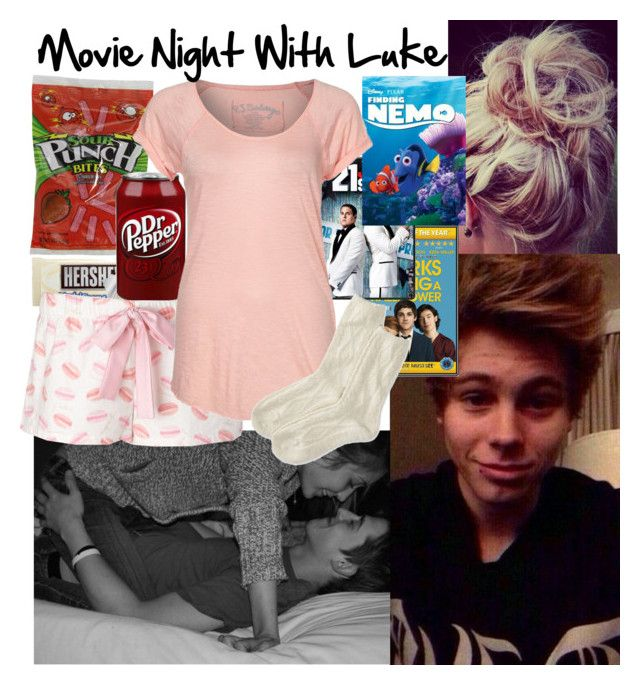 """Movie Night With Luke"" by outfit-prefs ❤ liked on Polyvore featuring R2, Forever 21, P.J. Salvage, American Eagle Outfitters and 5sos"