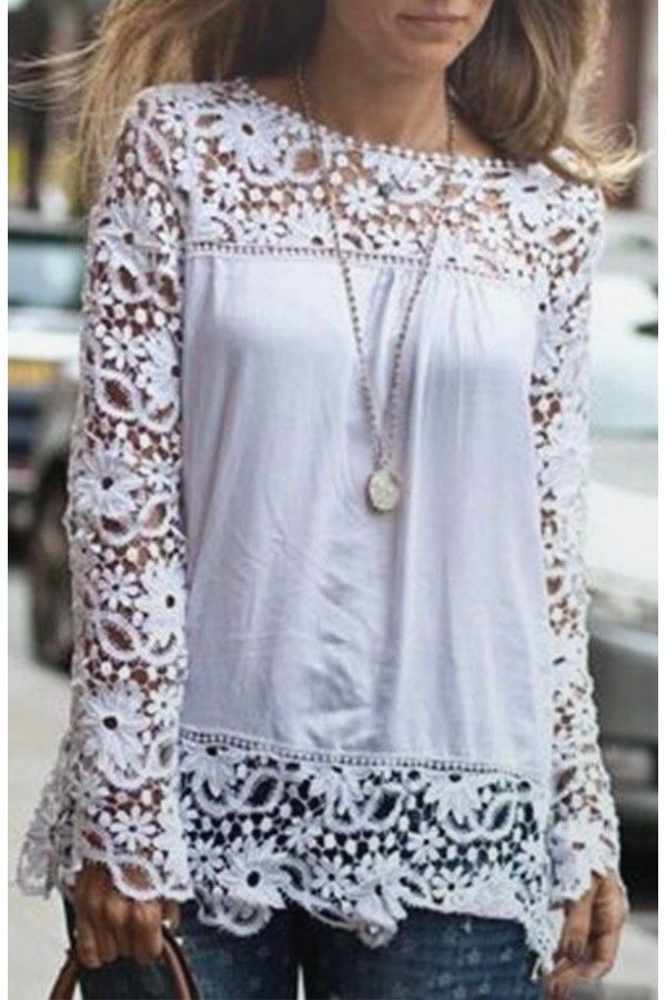 Hello to ALL things feminine when you wear this top. The long sleeves are filled of gorgeous floral crocheted detail. The bottom features a lovely crocheted lace ruffle.