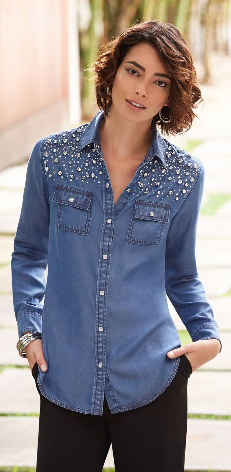 Chico's Black Label Embellished Denim Shirt. Rock your denim with shimmery stones.