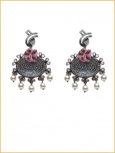 Silver earrings in pink and white