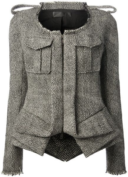 HAIDER ACKERMANN Black Herringbone Print Jacket - Lyst