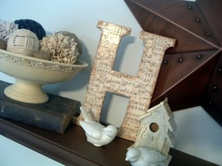 Sheet music letters! Too perfect! I am going to make these for sure! http://www.thecountrychiccottage.net/2010/02/sheet-music-letter.html