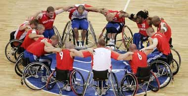 This image of the Team GB wheelchair basketball team at the 2008 Paralympics really shows the team spirit!