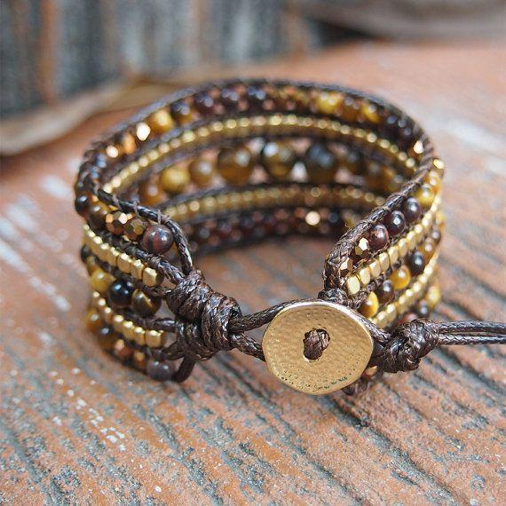 Tiger Auge Mix geschnitten Manschette Armband braun Netzkabel