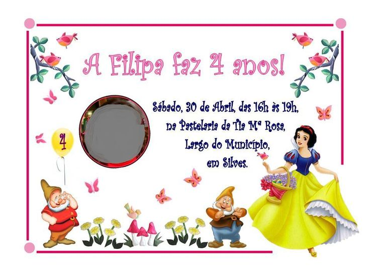 4º aniversário da Filipa - Festa da Branca de Neve e os 7 anões (2012)