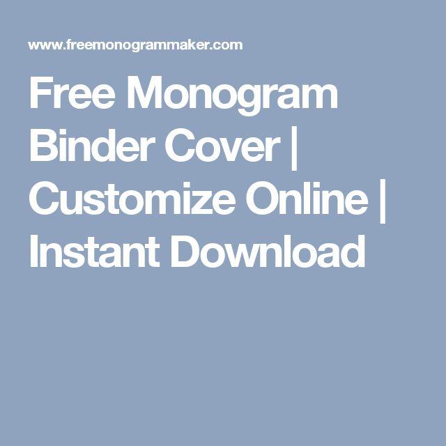 Free Monogram Binder Cover | Customize Online | Instant Download