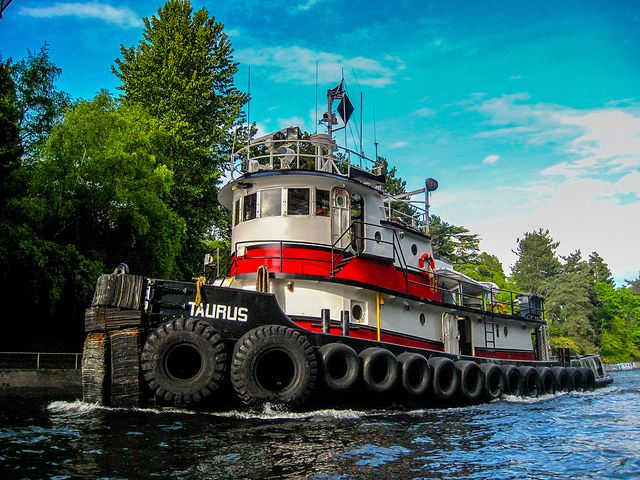 Tug Boat in Montlake Cut by Paddy O, via Flickr