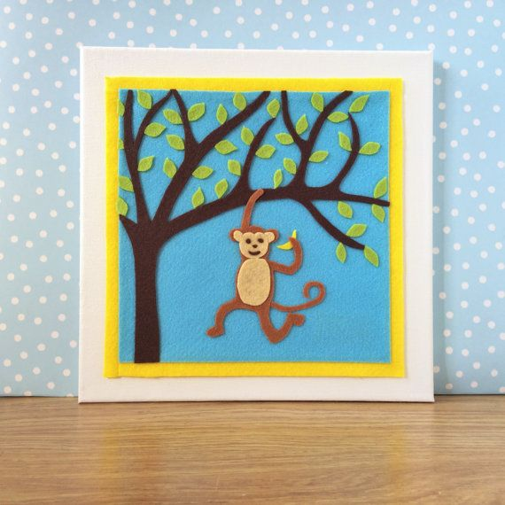 Monkey Nursery Decor. Childrens Wall Art. Nursery by BunbyAndBean