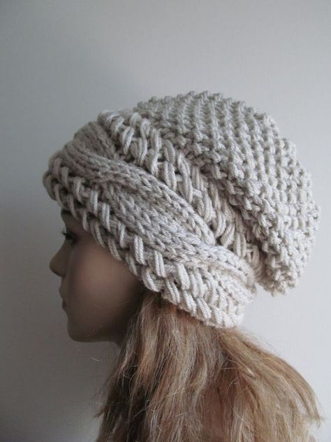 083a174ab5f8ad Slouchy Beanie Slouch Cable Hats Oversized Baggy Beret Button womens ...