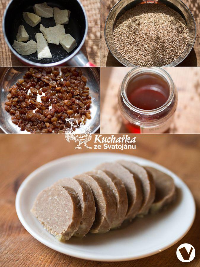 Rozehřejeme ve vodní lázni 50 g kakaového másla a vmícháme do něj 200 g předem nasucho opraženého a namletého sezamového semínka, 100 g nase...