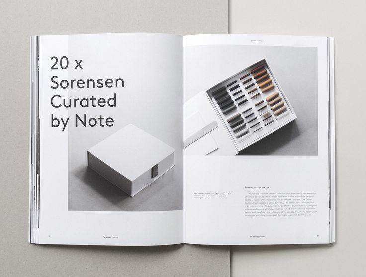 One of our special projects called 20 x Sorensen Leather curated by Note Design Studio. Page from our Brand Book 2nd Edition designed by Norm Architects.Text by Julie Ralphs.