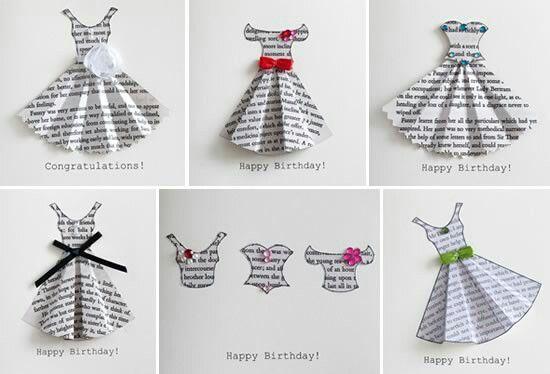 Handmade dresses for card