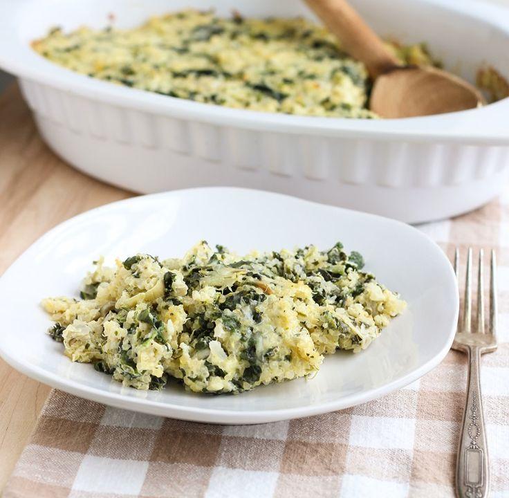 Spinach Artichoke Quinoa Casserole: made with Greek yogurt for extra protein! #vegetarian #glutenfree www.makingthymeforhealth.com