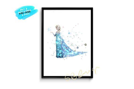 Frozen Elsa Watercolor Poster Frozen Printable Disney