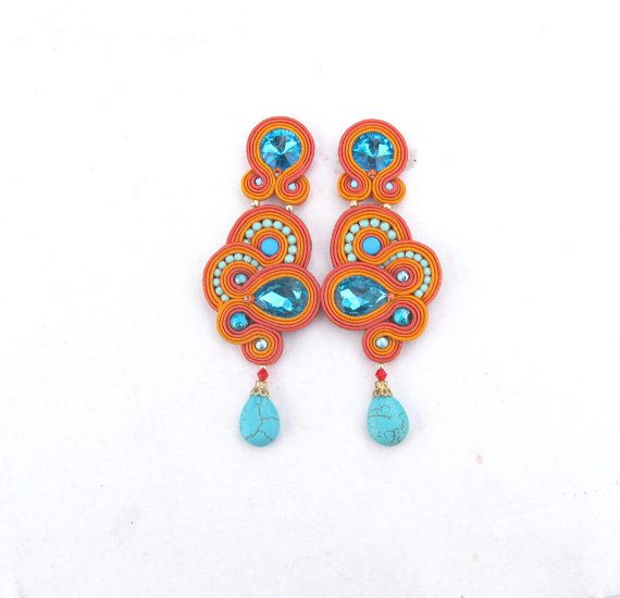 Long Unique Clip On Earrings Handmade by GiSoutacheJewelry