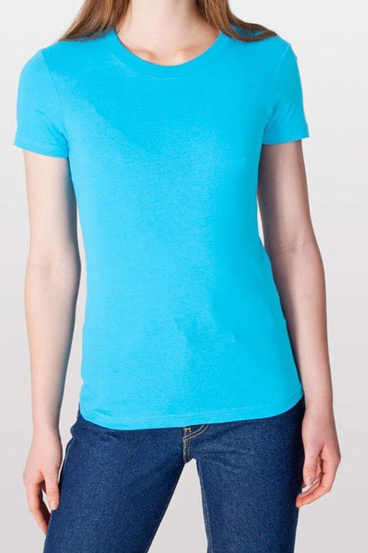 American Apparel 2102 Women's Short Sleeve Jersey T-Shirt Aqua