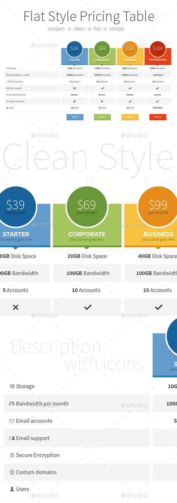 Flat Style Pricing Table Template PSD. Download here: http://graphicriver.net/item/flat-style-pricing-table/9105585?ref=ksioks