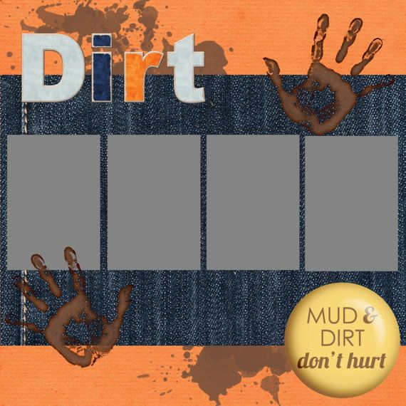 12x12 Dirt Theme Digital Scrapbook Page: Perfect for little boys