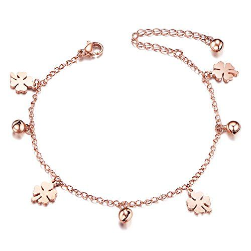 Sweetiee Titanium Steel Double Layered Anklet with Mini Stars Rose Gold 200mm for Woman hZKtsfqYCR