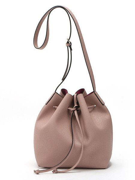 COLOR: Pink Size Availables: One size:Length:28*15*28cm - See more at: http://www.choieswholesale.com/product/peach-pink-drawstring-detail-pu-bucket-bag_p59567#