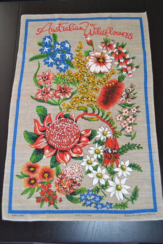 Vintage Linen Tea Towel Floral Dish Towel with by AuralesArtifacts, £8.00