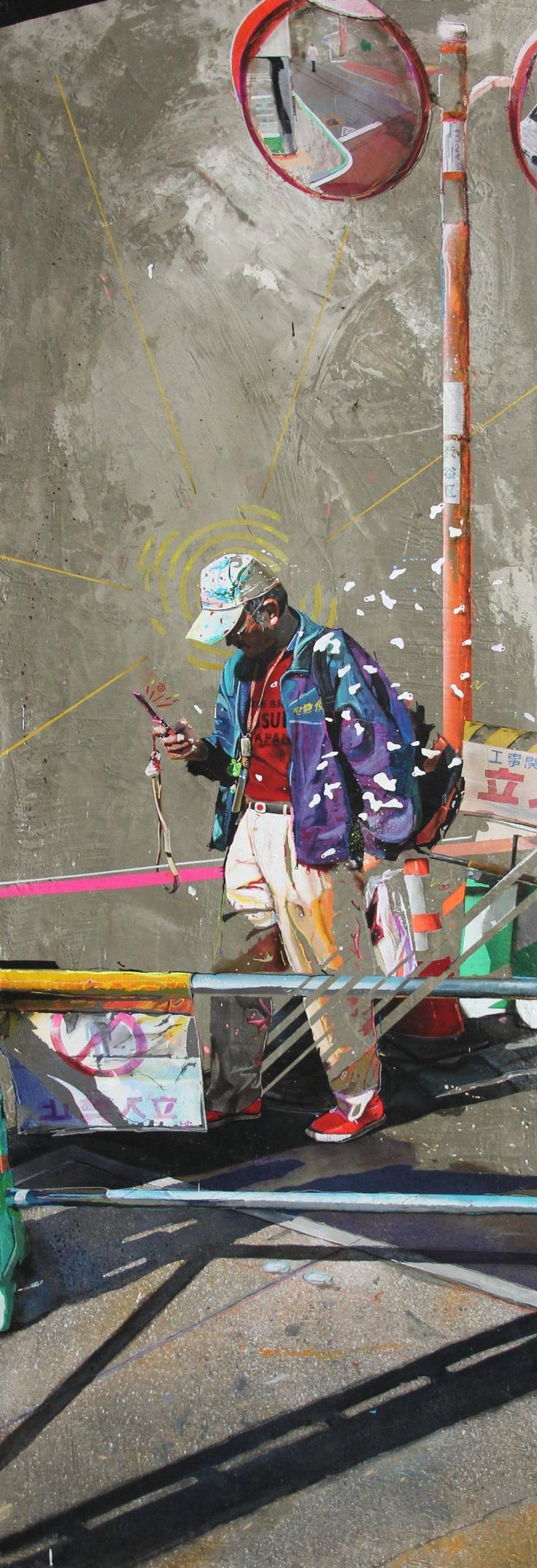"""""""Omotesando""""  Acrylic resin and cement on canvas.  150x50cm  By Arnaud Liard"""