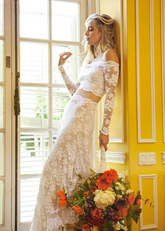 Two Piece Wedding Dress Long Sleeve Wedding Dress Off