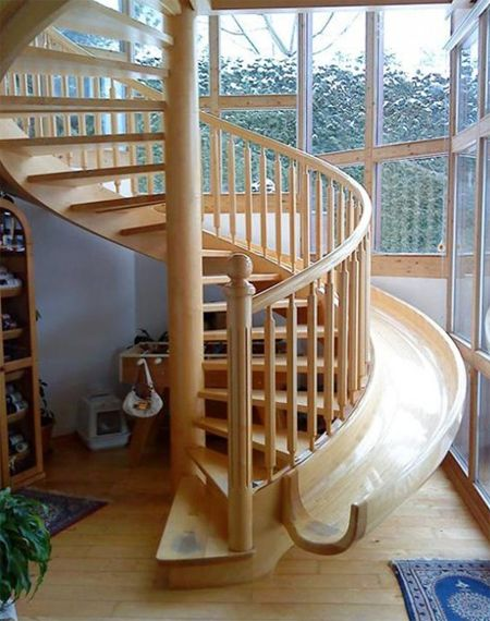 Unique stairs with slide for the kids built in.