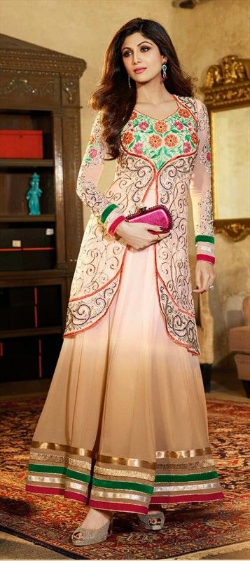 411745: #GetThisLook - #ShilpaShetty in layered anarkali. #Bollywood #beige #ethnic #festivewear