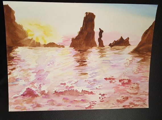 Crepuscule Aquarelle Original A3 Les Arts Painting Aquarelle