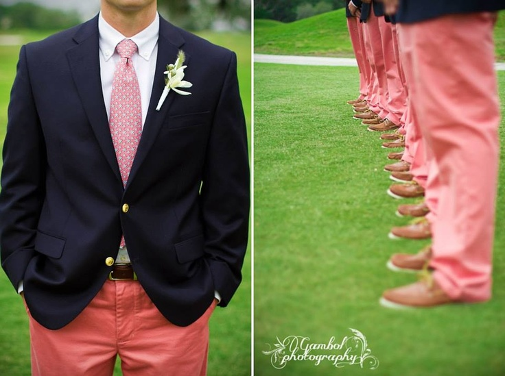 Vineyard Vines Wedding. Groom and Groomsmen Coral Pants Navy Blazer Starfish Boutonniere, Sperrys. Groomsmen. Preppy. Southern. Fratty. Wedding. Colleton River Plantation. Bluffton, South Carolina