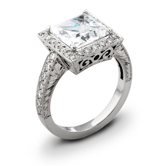 Ladies Vintage 14kt white gold engagement ring 0.50 ctw G-VS2 quality diamonds and 2ct Princess Cut natural white sapphire