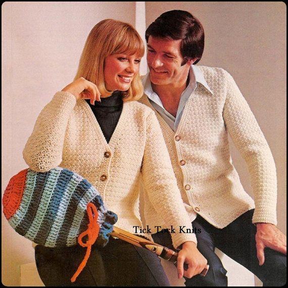 No.238 Men's & Women's Crochet Pattern - Classic Cardigan Sweaters For Men / Women - PDF Vintage - Retro Crochet Pattern - Instant Download