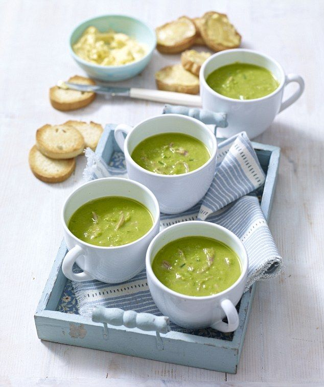 Mary Berry Pea and ham soup with mustard croûtes