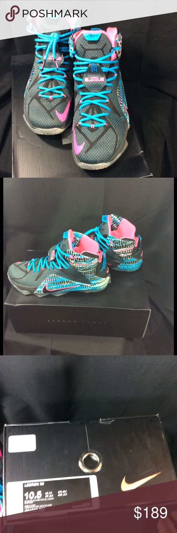 Lebron James Nike XII sz 10.5 black lagoon shoes Lebron James Nike XII size 10.5 black pink black lagoon basketball shoes  men's. Comes with original box. Smoke free home. Great condition. Some of the inside writing on foot has worn off see photo. nike lebron james  Shoes Athletic Shoes