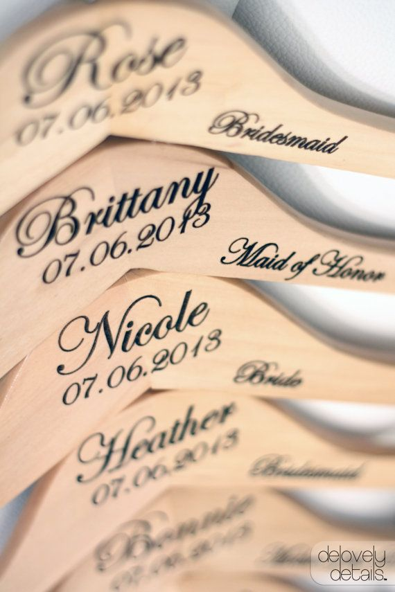 Personalized Wedding Dress Hanger with Wedding Party Title Arm Inscription - Engraved Wood #wedding