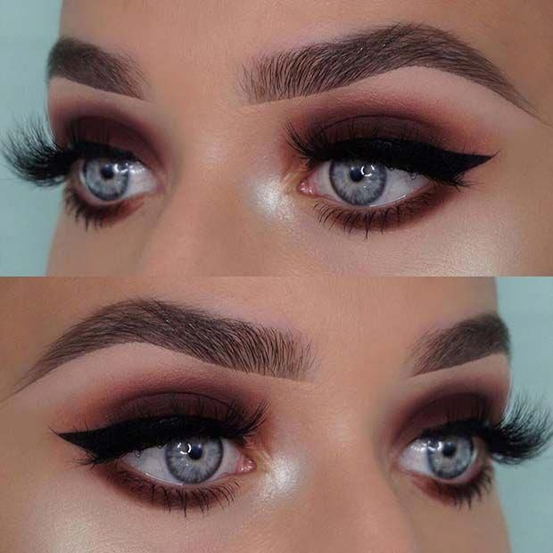 Dark Brown Smokey Eye For Blue Eyes Smokeyeye Eyemakeup With