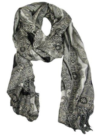 Collection XIIX Women's Black & Gray Paisley Wrap Scarf