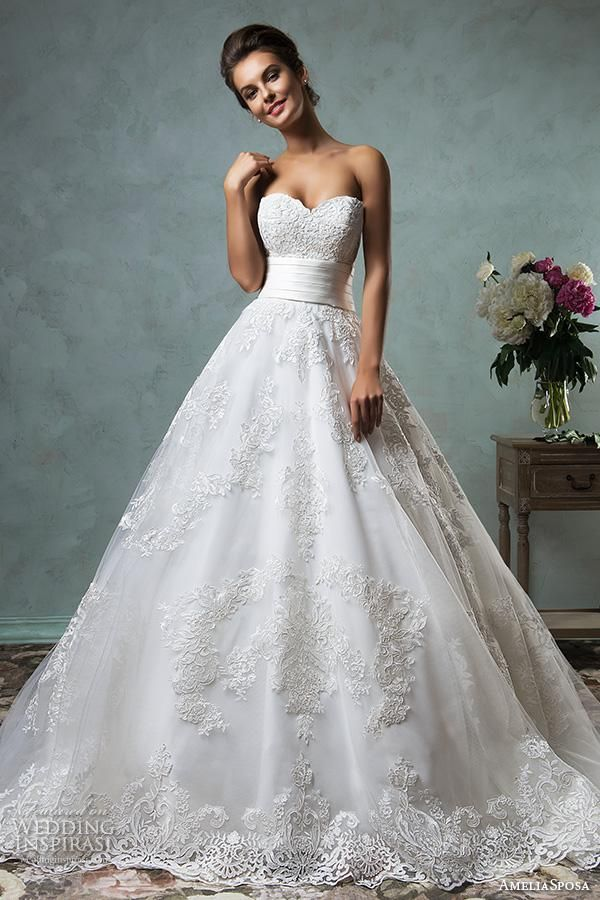 amelia sposa 2016 wedding dresses strapless sweetheart neckline embroideried stunning a line ball gown wedding dress arcellia.