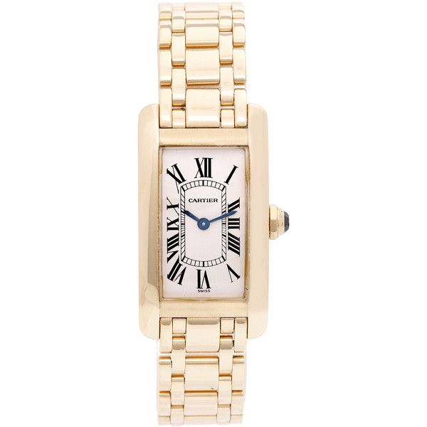 Pre-Owned Cartier Tank Americaine Ladies 18k Yellow Gold Watch ($8,795) ❤ liked on Polyvore featuring jewelry, watches, no color, gold wrist watch, cartier watches, gold wristwatch, yellow gold watches and roman numeral watches