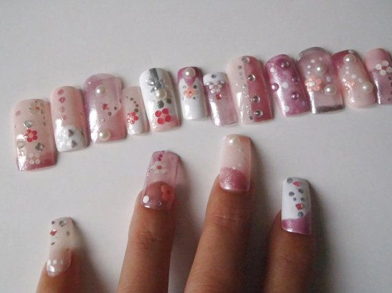 stile giapponese 3d unghie finte rosa pastel goth press on nail art unghie artificiali cosplay glitter rosa lolita squadrate lasoffittadiste