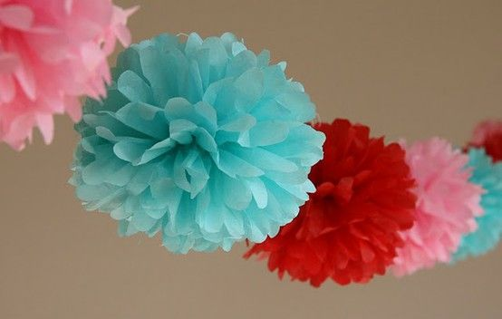 red aqua pink tissue paper flowers