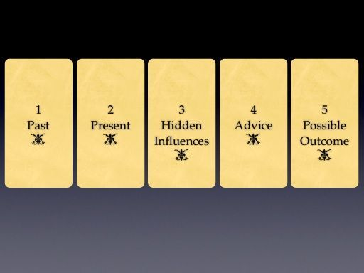 Five Card Spread - Past, Present, Hidden Influences, Advice, Possible Outcomes