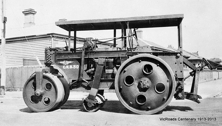 First 3 inch axle roller constructed by Malcolm Moore for C.R.B. 1936. VicRoads Centenary 1913-2013.
