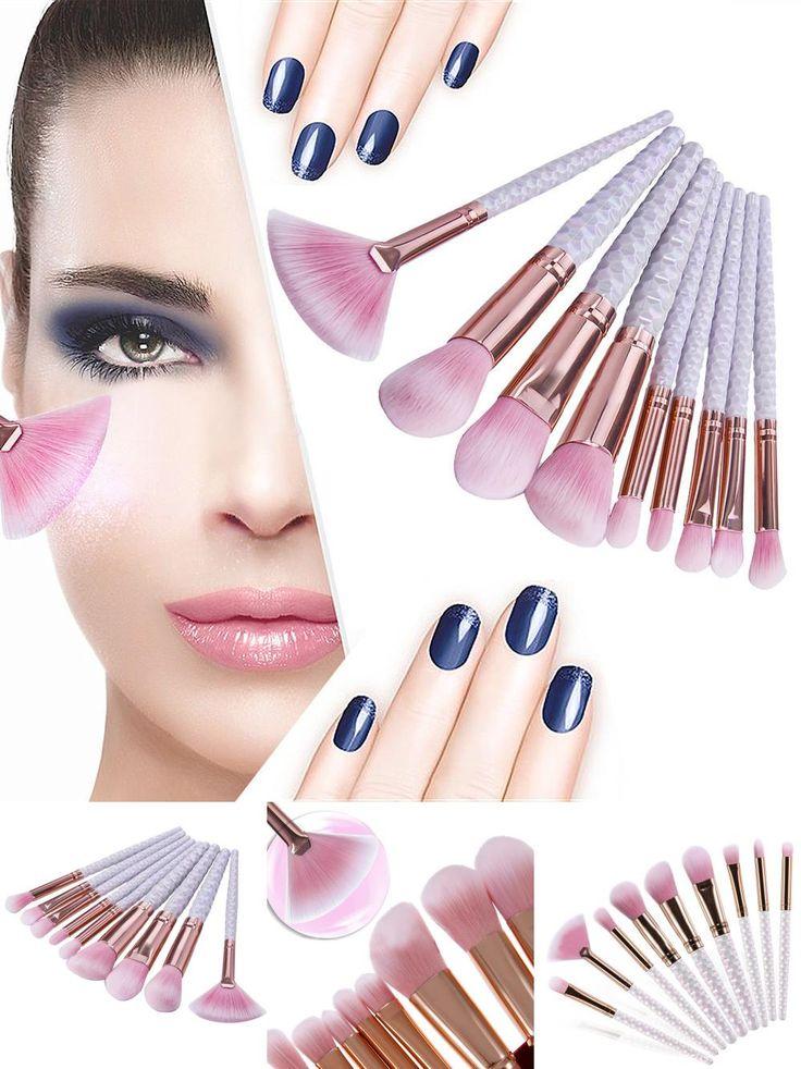 [Visit to Buy] 9PCS  White Plastic Handle Horse Hair Make Up Foundation Eyebrow Eyeliner Blush Cosmetic Concealer Brushes Fan Brush #Advertisement