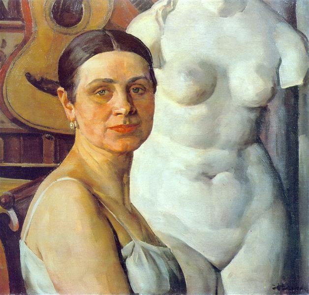 Portrait of K.A. Yuon, artist's wife, 1924 by Konstantin Yuon. Post-Impressionism. portrait