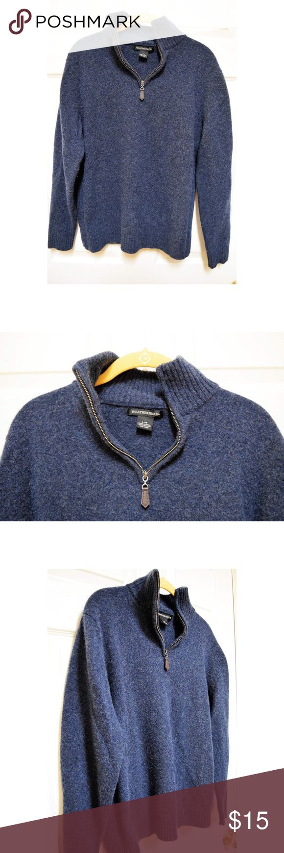Weatherproof 100% Lambswool Half Zip Pullover Men's Navy Pullover Sweater from Weatherproof featuring half zip detailing and leather zipper accent. Excellent used condition. Size L Weatherproof Sweaters